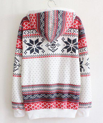 Latest Ethnic Style Hooded Long Sleeve Flocky Printed Women's Hoodie - ONE SIZE(FIT SIZE XS TO M) WHITE Mobile