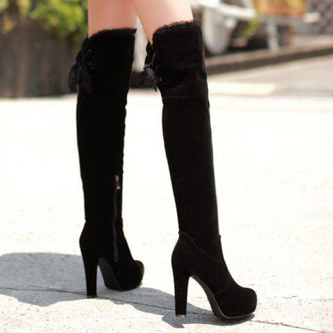 Fashion Lace Trimmed Over The Knee High Heel Boots - 37 BLACK Mobile