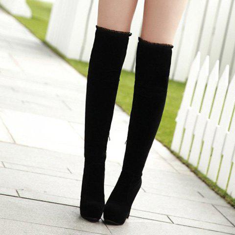 Cheap Lace Trimmed Over The Knee High Heel Boots - 37 BLACK Mobile