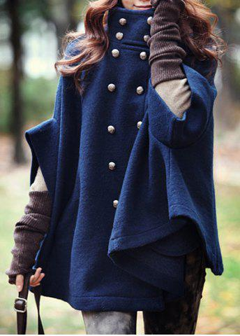 Sale Fashionable Stand Collar Double-Breasted Cape Coat For Women