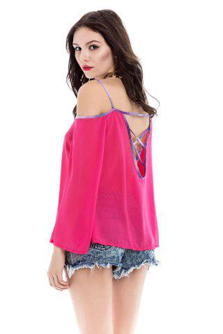 Shops Stylish Spaghetti Strap Long Sleeve Backless Women's Blouse - M RED Mobile