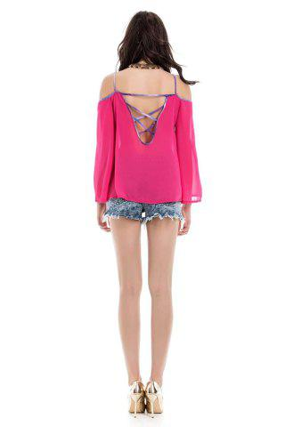 Chic Stylish Spaghetti Strap Long Sleeve Backless Women's Blouse - L RED Mobile