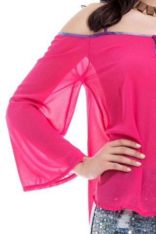 Buy Stylish Spaghetti Strap Long Sleeve Backless Women's Blouse - L RED Mobile