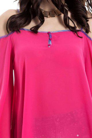 Discount Stylish Spaghetti Strap Long Sleeve Backless Women's Blouse - L RED Mobile