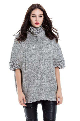 Online Vintage Stand-Up Collar Batwing Sleeves Solid Color Jacket For Women - 2XL GRAY Mobile