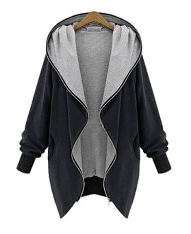 Elegant Hooded Long Sleeve Zippered Coat For Women