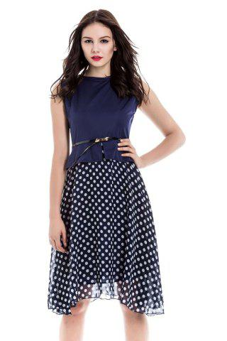 Outfit Polka Dot Sleeveless Chiffon Flowy Dress CADETBLUE S