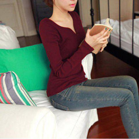 Chic Stylish V-Neck Long Sleeves Solid Color T-Shirt For Women WINE RED S