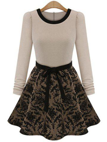 Chic Simple Round Collar Long Sleeve Spliced Lace-Up Women's Dress