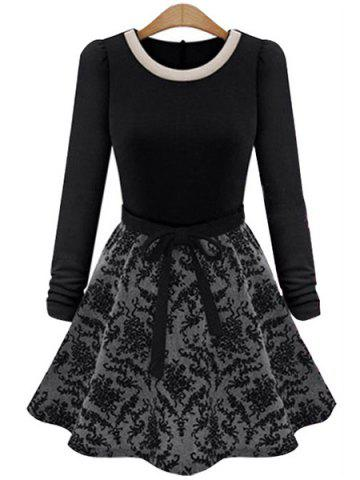 Fancy Simple Round Collar Long Sleeve Spliced Lace-Up Women's Dress