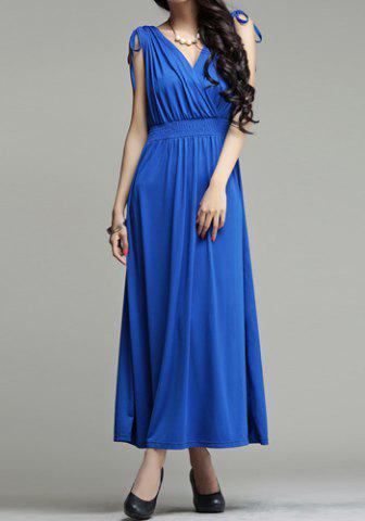 Latest Stylish V-Neck Sleeveless Solid Color Hollow Out Long Dress For Women