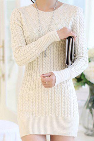 Fashion Stylish Long Sleeves Solid Color Sweater Dress For Women