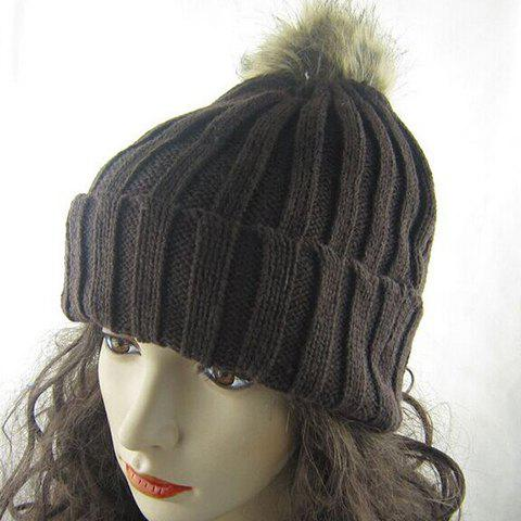 New Fuzzy Ball Knitted Winter Toboggan Hat - ONE SIZE COLOR ASSORTED Mobile