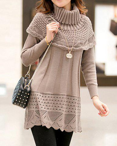 Simple Round Neck Long Sleeve Solid Color Knitted Dress + Turtle Neck Cape Women's Twinset