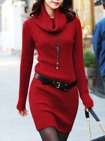 Stylish Turtleneck Solid Color Long Sleeves Belt Sweater Dress For Women