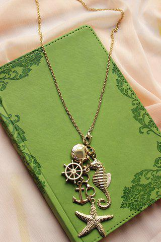 Outfit Retro Women's Starfish Anchor Design Sweater Chain Necklace