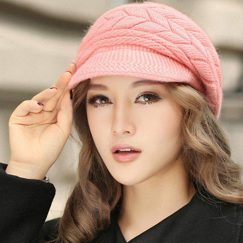 Shop Chic Style Solid Color Knitted Hemp Flowers Beret For Women -   Mobile