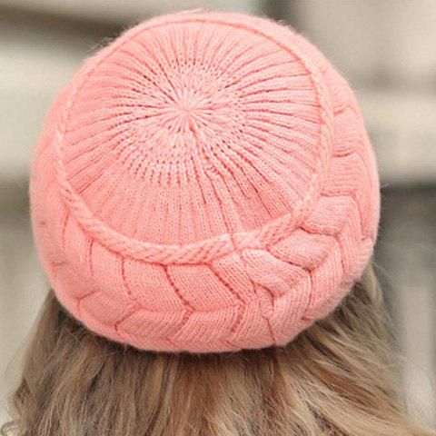 Unique Chic Style Solid Color Knitted Hemp Flowers Beret For Women -   Mobile