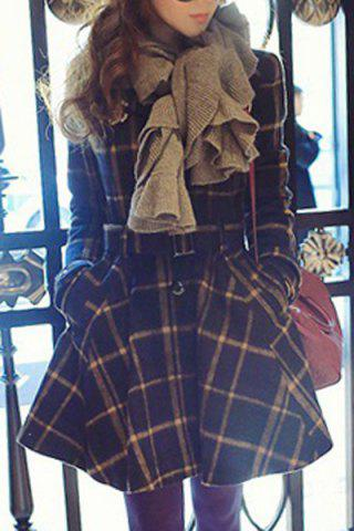 Outfits Stylish Stand Collar Plaid Lace-Up Long Sleeve Women's Coat