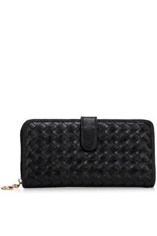 Hot Trendy Checked and Weaving Design Women's Wallet - BLACK  Mobile
