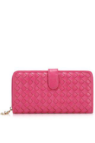 Fashion Trendy Checked and Weaving Design Women's Wallet