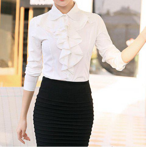 Trendy Stylish Turn-Down Collar Flouncing Design Long Sleeve Women's Blouse
