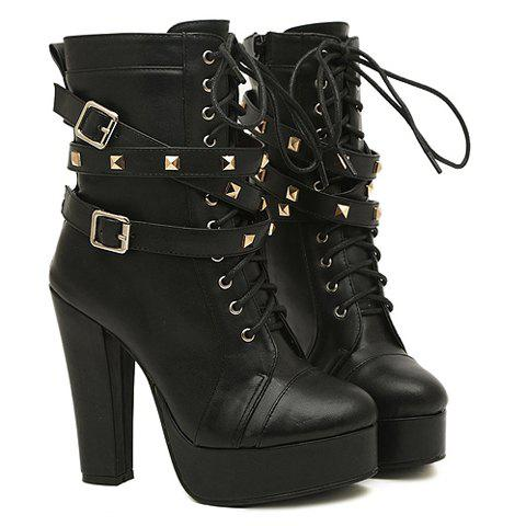 Outfits Fashion Buckles and Rivets Design Women's Chunky Heel Short Boots