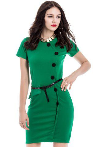 Discount Button Up Sheath Dress with Short Sleeve GREEN S