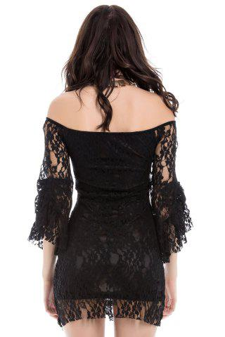 Latest Sexy Boat Neck Flared Sleeve Lace Dress For Women - ONE SIZE BLACK Mobile