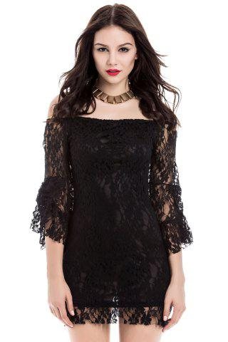 Cheap Sexy Boat Neck Flared Sleeve Lace Dress For Women - ONE SIZE BLACK Mobile