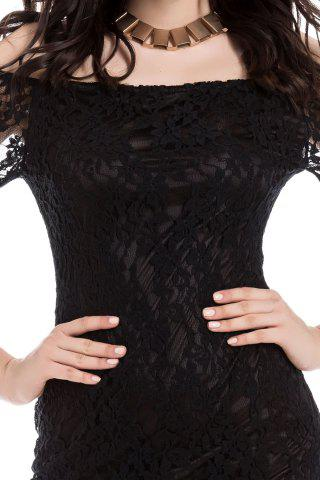 Affordable Sexy Boat Neck Flared Sleeve Lace Dress For Women - ONE SIZE BLACK Mobile