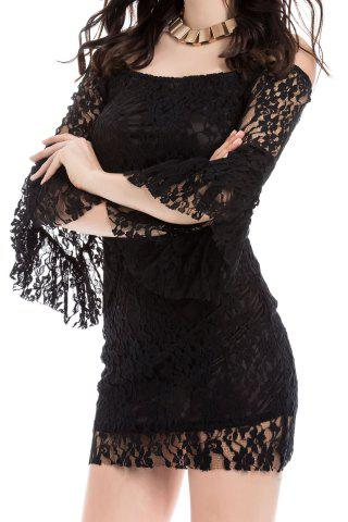 Sale Sexy Boat Neck Flared Sleeve Lace Dress For Women - ONE SIZE BLACK Mobile