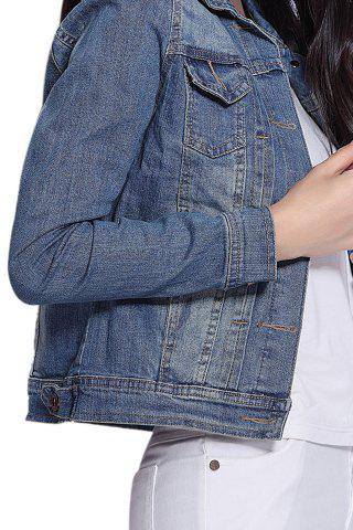 Cheap Long Sleeve Single-Breasted Panel Short Denim Jacket - L BLUE Mobile