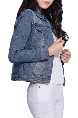 Chic Long Sleeve Single-Breasted Panel Short Denim Jacket - L BLUE Mobile