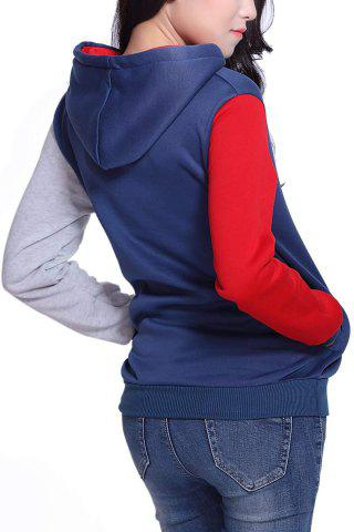 Cheap Casual Pockets Design Long Sleeve Hooded Women's Sweatshirt - 2XL RED Mobile