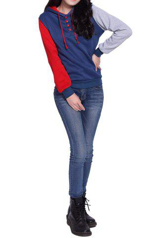 Sale Casual Pockets Design Long Sleeve Hooded Women's Sweatshirt - 2XL RED Mobile