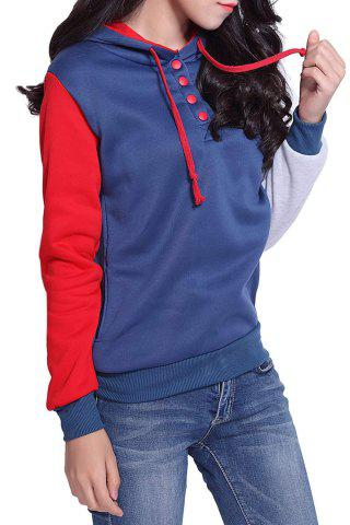 Store Casual Pockets Design Long Sleeve Hooded Women's Sweatshirt - 2XL RED Mobile