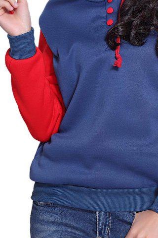 Discount Casual Pockets Design Long Sleeve Hooded Women's Sweatshirt - 2XL RED Mobile