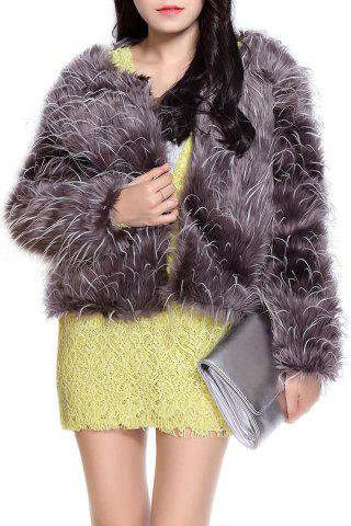 Outfits Stunning Style Fur Color Block Women's Coat