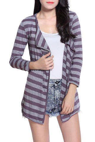Sale Fashionable Stripe Color Block Long Sleeve Coat For Women GREY/GRAY