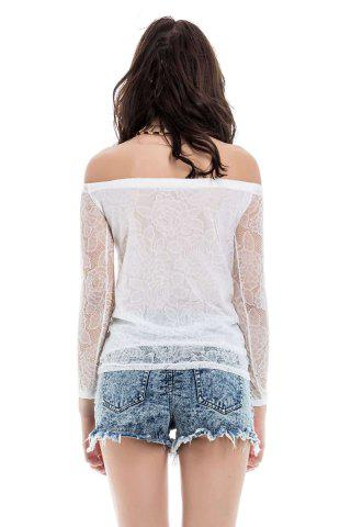 Affordable Lace Hollow Yarn Women's Blouse chiffon White Boat Neck T-shirt - L WHITE Mobile