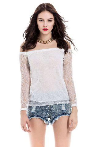 Hot Lace Hollow Yarn Women's Blouse chiffon White Boat Neck T-shirt WHITE M