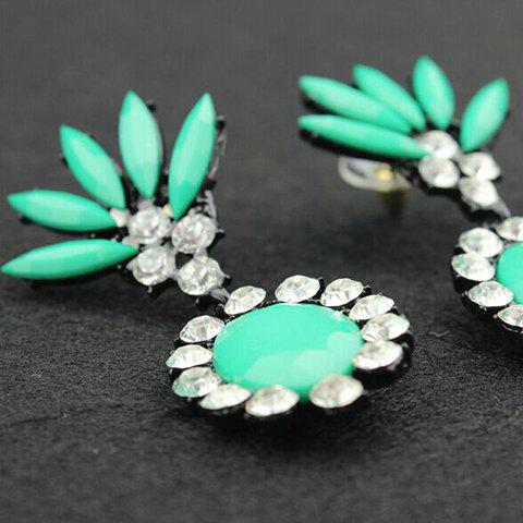 Sale Pair of Oval Rinestone Embellished Drop Earrings - COLOR ASSORTED  Mobile