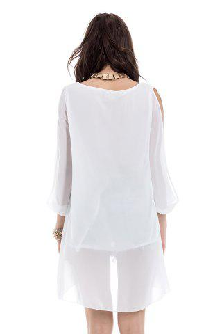 Sale Long Sleeve Chiffon Beach Shift Dress - S WHITE Mobile
