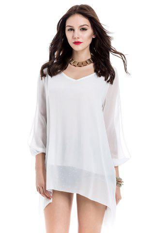 Hot Long Sleeve Chiffon Beach Shift Dress WHITE S
