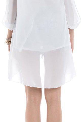 Fashion Long Sleeve Chiffon Beach Shift Dress - M WHITE Mobile