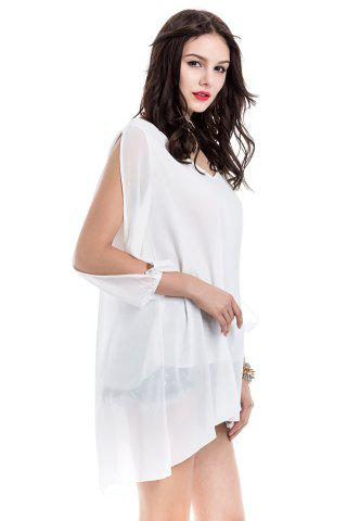 Sale Long Sleeve Chiffon Beach Shift Dress - M WHITE Mobile