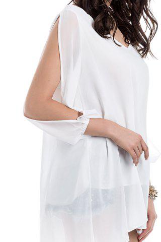 Unique Long Sleeve Chiffon Beach Shift Dress - M WHITE Mobile