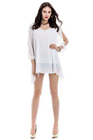 Store Long Sleeve Chiffon Beach Shift Dress - M WHITE Mobile