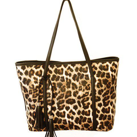 Shops Gorgeous Leopard Print and Tassels Design Women's Shoulder Bag